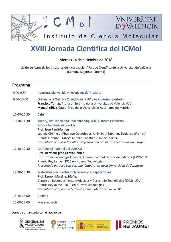 Cartel Jornada ICMol 2018