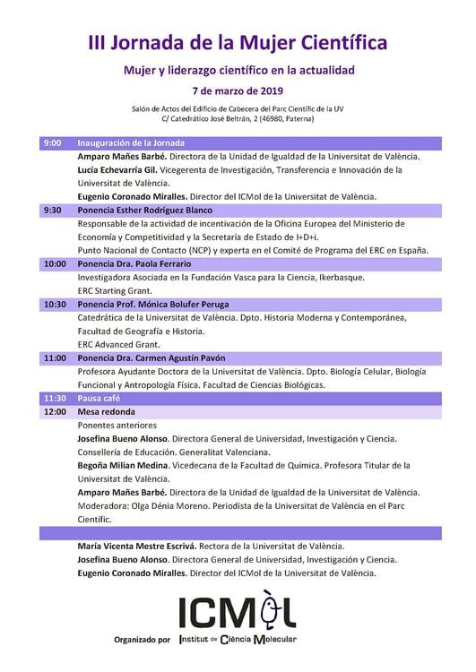 Programa III Jornada de la Mujer Científica